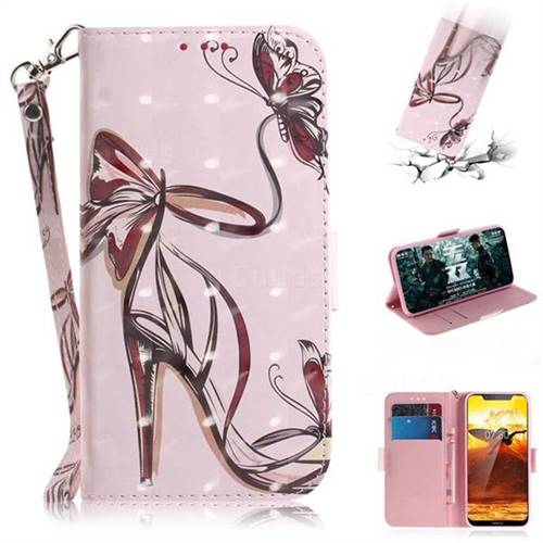 Butterfly High Heels 3D Painted Leather Wallet Phone Case for Nokia 8.1 (Nokia X7)