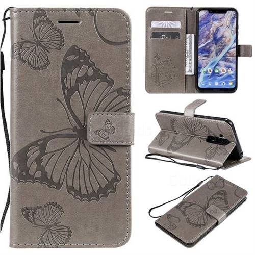 Embossing 3D Butterfly Leather Wallet Case for Nokia 8.1 (Nokia X7) - Gray