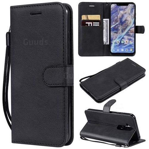 Retro Greek Classic Smooth PU Leather Wallet Phone Case for Nokia 8.1 (Nokia X7) - Black