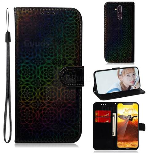 Laser Circle Shining Leather Wallet Phone Case for Nokia 8.1 (Nokia X7) - Black