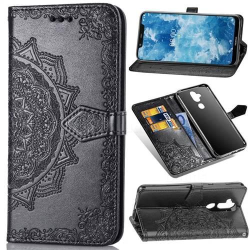 Embossing Imprint Mandala Flower Leather Wallet Case for Nokia 8.1 (Nokia X7) - Black