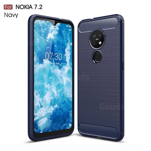 Luxury Carbon Fiber Brushed Wire Drawing Silicone TPU Back Cover for Nokia 7.2 - Navy
