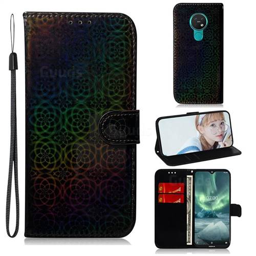 Laser Circle Shining Leather Wallet Phone Case for Nokia 7.2 - Black