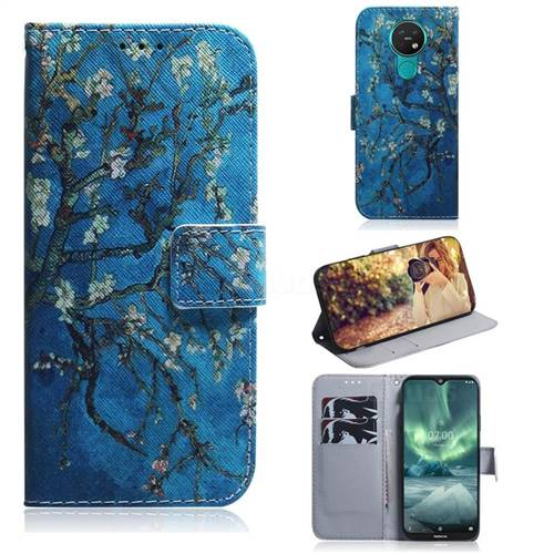 Apricot Tree PU Leather Wallet Case for Nokia 7.2