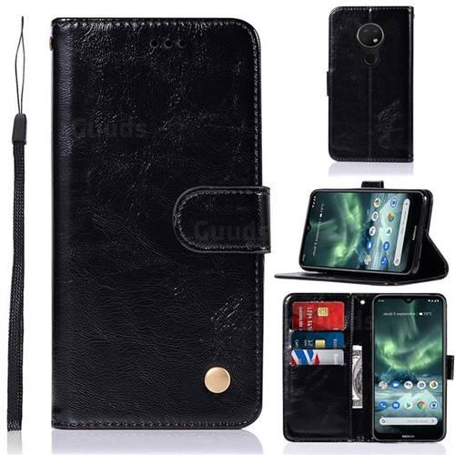 Luxury Retro Leather Wallet Case for Nokia 7.2 - Black