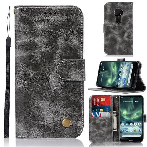 Luxury Retro Leather Wallet Case for Nokia 7.2 - Gray