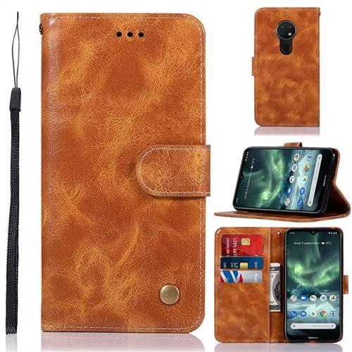 Luxury Retro Leather Wallet Case for Nokia 7.2 - Golden