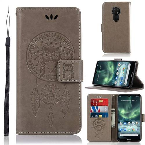 Intricate Embossing Owl Campanula Leather Wallet Case for Nokia 7.2 - Grey