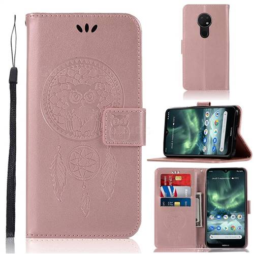 Intricate Embossing Owl Campanula Leather Wallet Case for Nokia 7.2 - Rose Gold
