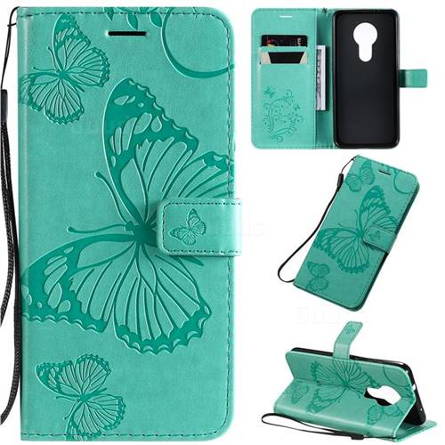 Embossing 3D Butterfly Leather Wallet Case for Nokia 7.2 - Green