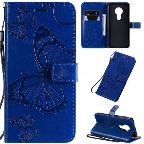 Embossing 3D Butterfly Leather Wallet Case for Nokia 7.2 - Blue