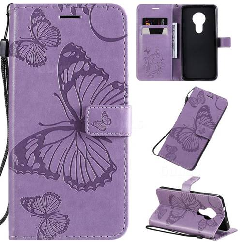 Embossing 3D Butterfly Leather Wallet Case for Nokia 7.2 - Purple
