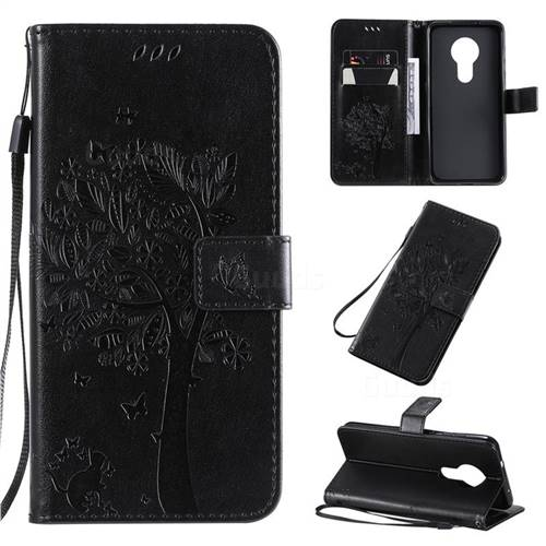 Embossing Butterfly Tree Leather Wallet Case for Nokia 7.2 - Black