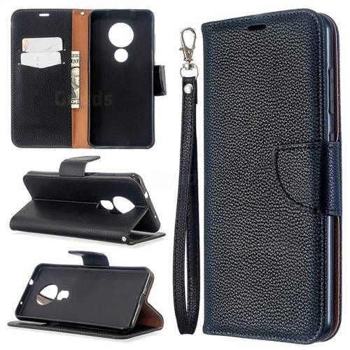 Classic Luxury Litchi Leather Phone Wallet Case for Nokia 7.2 - Black