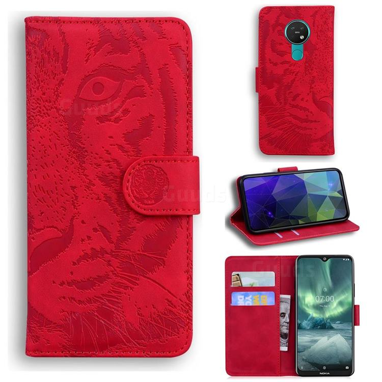 Intricate Embossing Tiger Face Leather Wallet Case for Nokia 7.2 - Red