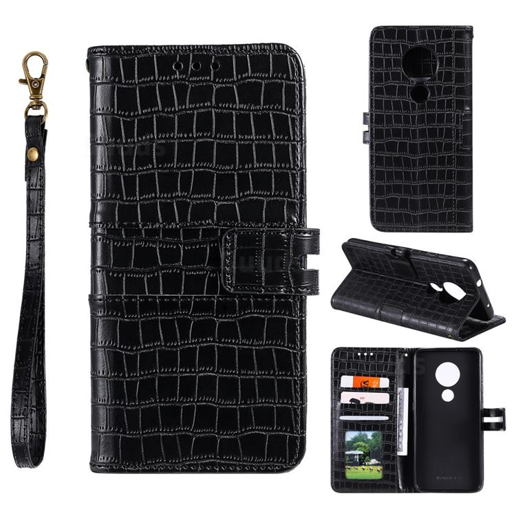 Luxury Crocodile Magnetic Leather Wallet Phone Case for Nokia 7.2 - Black