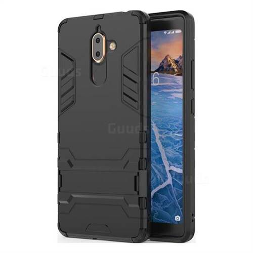 Armor Premium Tactical Grip Kickstand Shockproof Dual Layer Rugged Hard Cover for Nokia 7 Plus - Black