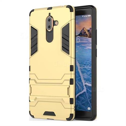 Armor Premium Tactical Grip Kickstand Shockproof Dual Layer Rugged Hard Cover for Nokia 7 Plus - Golden
