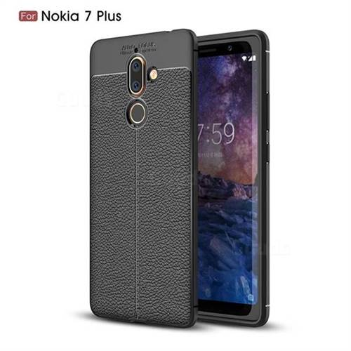 Luxury Auto Focus Litchi Texture Silicone TPU Back Cover for Nokia 7 Plus - Black