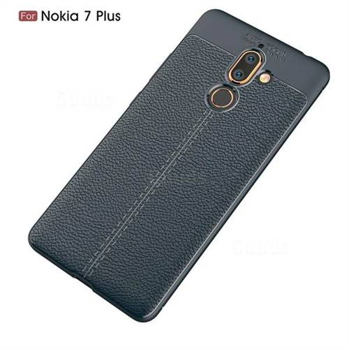 timeless design 09960 bf2f4 Luxury Auto Focus Litchi Texture Silicone TPU Back Cover for Nokia 7 Plus -  Dark Blue