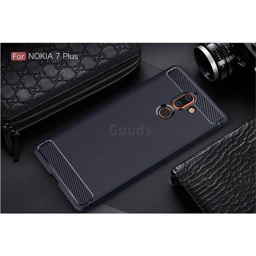 on sale dcf53 af811 Luxury Carbon Fiber Brushed Wire Drawing Silicone TPU Back Cover for Nokia  7 Plus - Navy