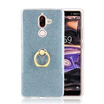 Luxury Soft TPU Glitter Back Ring Cover with 360 Rotate Finger Holder Buckle for Nokia 7 Plus - Blue