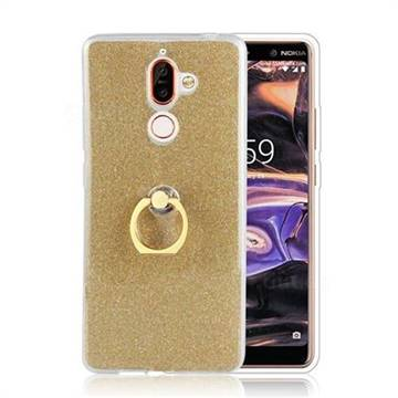 Luxury Soft TPU Glitter Back Ring Cover with 360 Rotate Finger Holder Buckle for Nokia 7 Plus - Golden