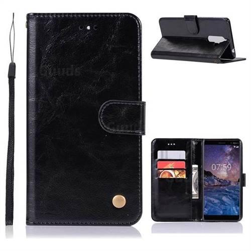 Luxury Retro Leather Wallet Case for Nokia 7 Plus - Black