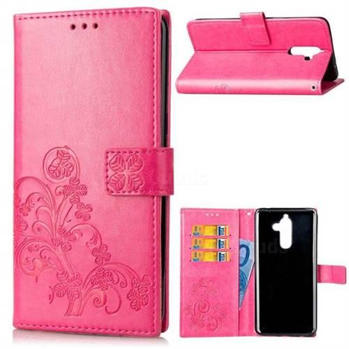 Embossing Imprint Four-Leaf Clover Leather Wallet Case for Nokia 7 Plus - Rose