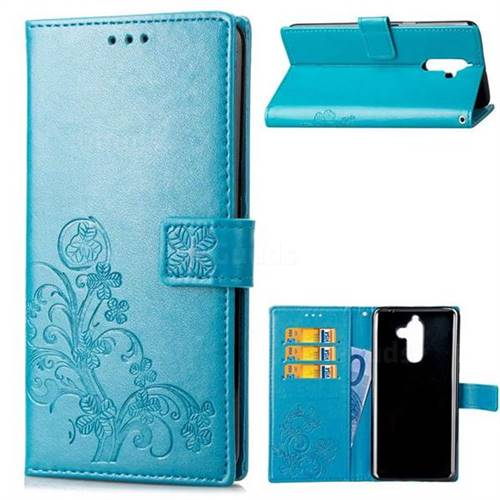 Embossing Imprint Four-Leaf Clover Leather Wallet Case for Nokia 7 Plus - Blue