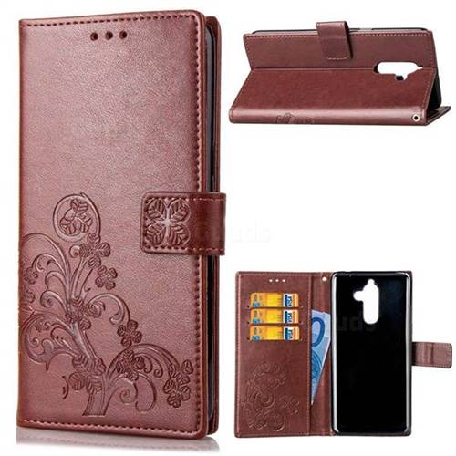 Embossing Imprint Four-Leaf Clover Leather Wallet Case for Nokia 7 Plus - Brown