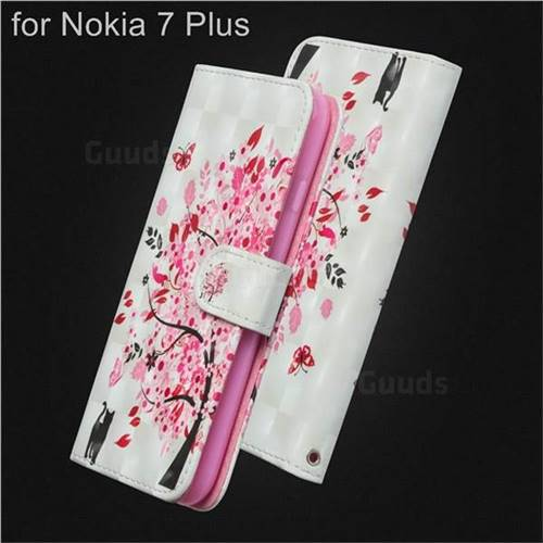 Tree and Cat 3D Painted Leather Wallet Case for Nokia 7 Plus