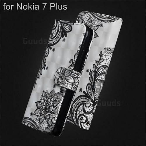 Black Lace Flower 3D Painted Leather Wallet Case for Nokia 7 Plus