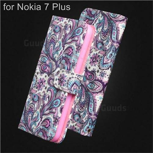 Swirl Flower 3D Painted Leather Wallet Case for Nokia 7 Plus