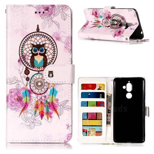 Wind Chimes Owl 3D Relief Oil PU Leather Wallet Case for Nokia 7 Plus