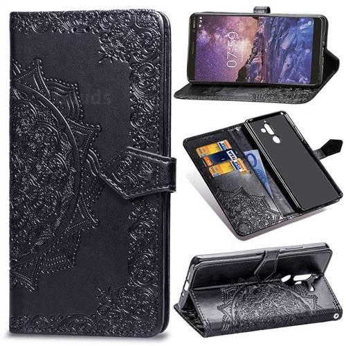 Embossing Imprint Mandala Flower Leather Wallet Case for Nokia 7 Plus - Black