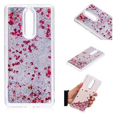 Glitter Sand Mirror Quicksand Dynamic Liquid Star TPU Case for Nokia 8 - Red