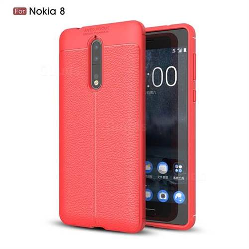 Luxury Auto Focus Litchi Texture Silicone TPU Back Cover for Nokia 8 - Red