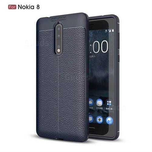 Luxury Auto Focus Litchi Texture Silicone TPU Back Cover for Nokia 8 - Dark Blue