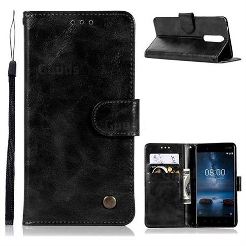 Luxury Retro Leather Wallet Case for Nokia 8 - Black