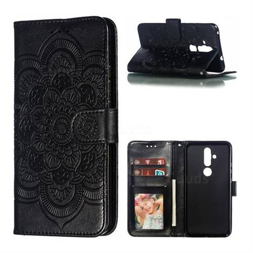 Intricate Embossing Datura Solar Leather Wallet Case for Nokia 8.1 Plus (Nokia X71) - Black
