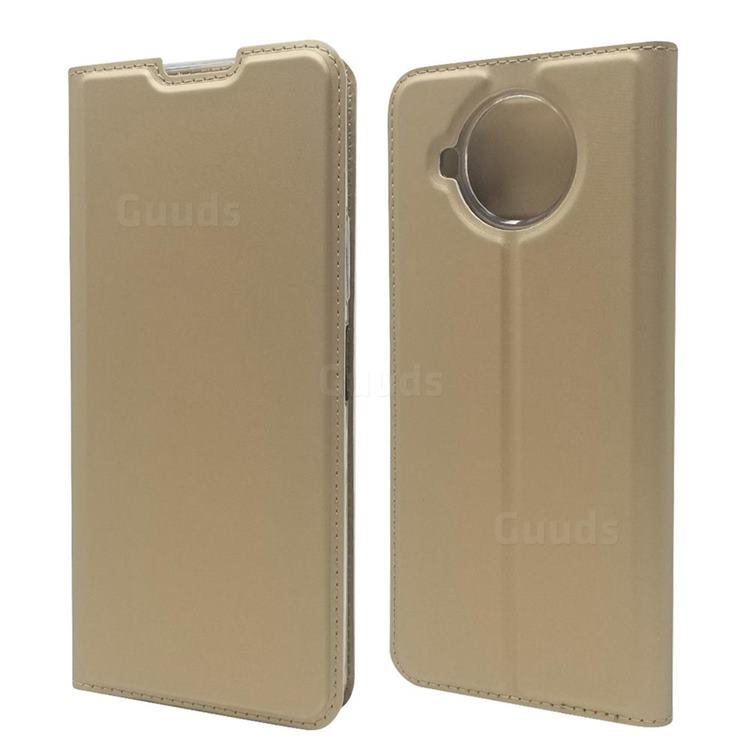 Ultra Slim Card Magnetic Automatic Suction Leather Wallet Case for Nokia 8.3 - Champagne
