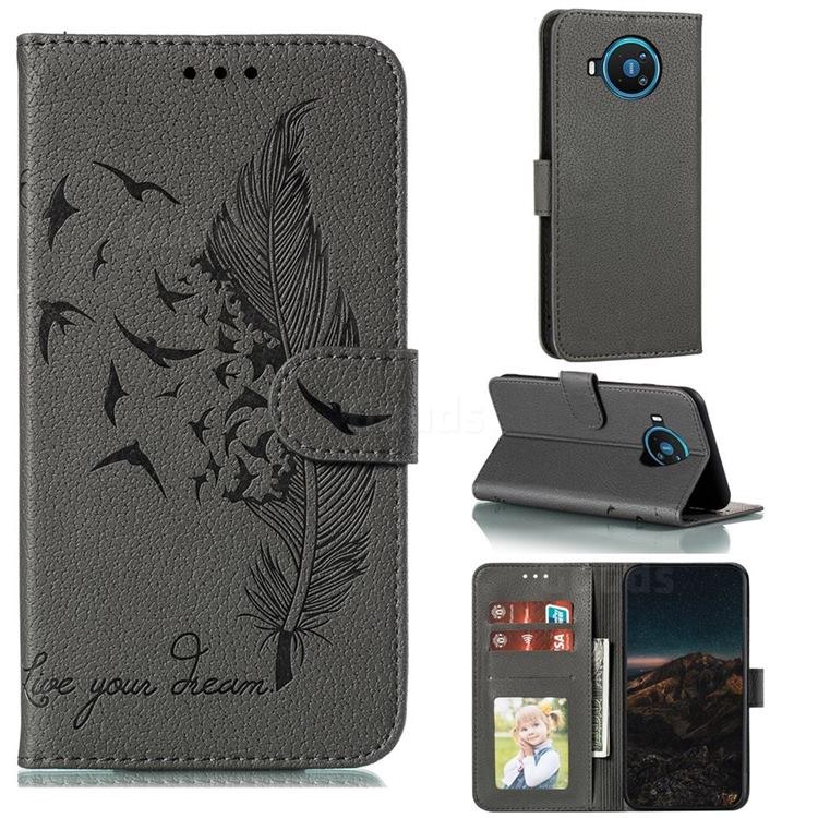 Intricate Embossing Lychee Feather Bird Leather Wallet Case for Nokia 8.3 - Gray