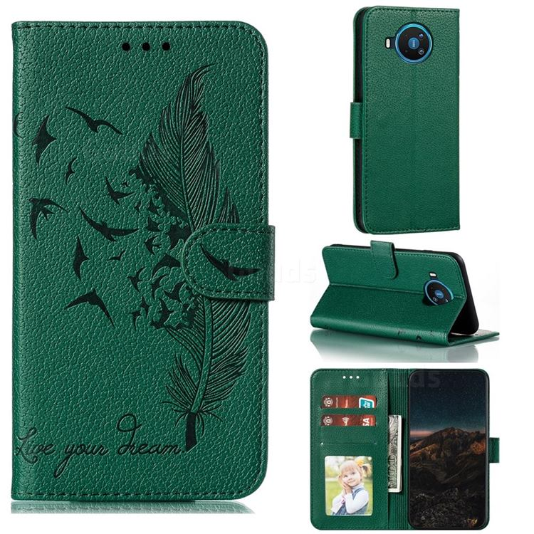 Intricate Embossing Lychee Feather Bird Leather Wallet Case for Nokia 8.3 - Green