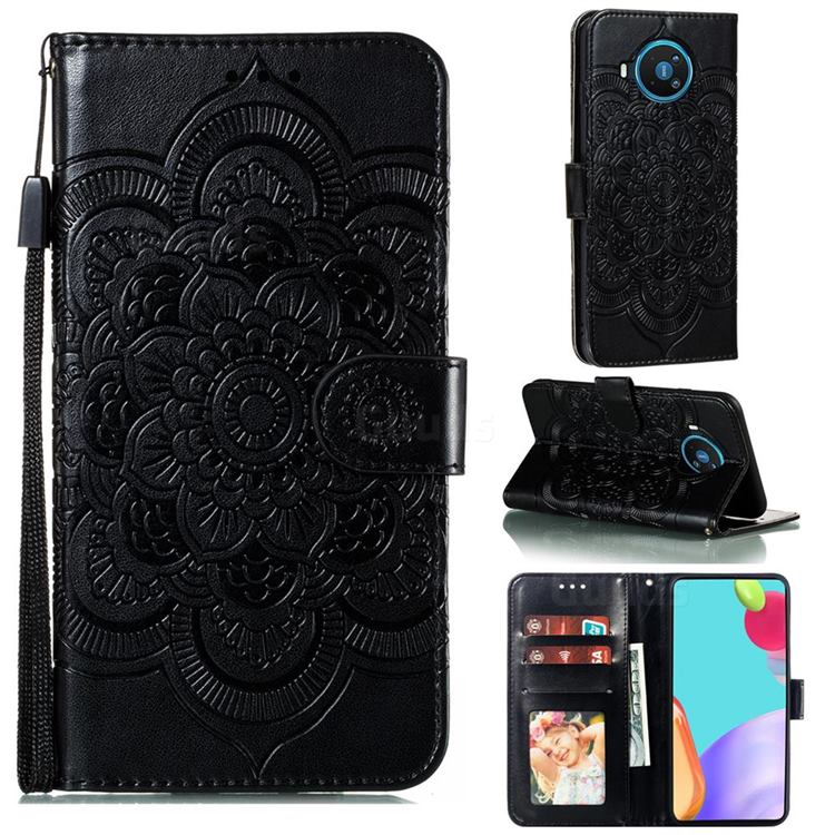 Intricate Embossing Datura Solar Leather Wallet Case for Nokia 8.3 - Black