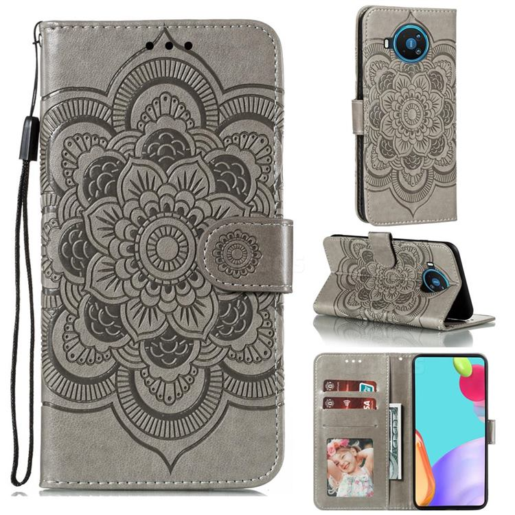 Intricate Embossing Datura Solar Leather Wallet Case for Nokia 8.3 - Gray