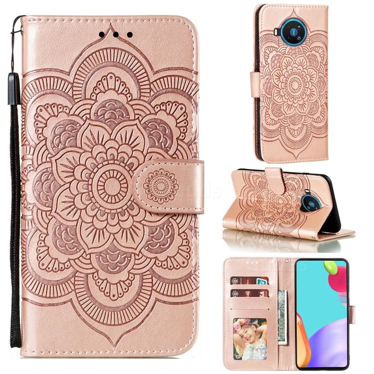 Intricate Embossing Datura Solar Leather Wallet Case for Nokia 8.3 - Rose Gold