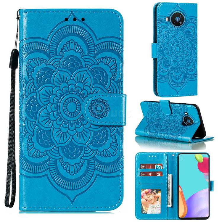 Intricate Embossing Datura Solar Leather Wallet Case for Nokia 8.3 - Blue