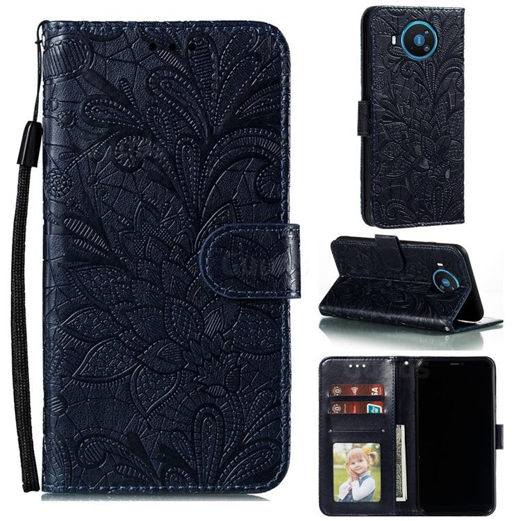Intricate Embossing Lace Jasmine Flower Leather Wallet Case for Nokia 8.3 - Dark Blue