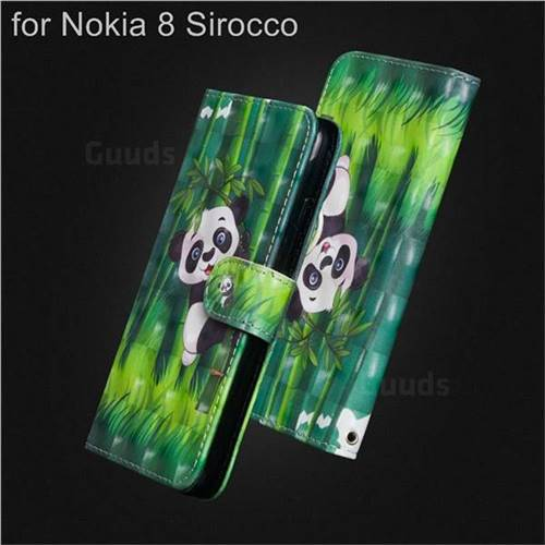 Climbing Bamboo Panda 3D Painted Leather Wallet Case for Nokia 8 Sirocco